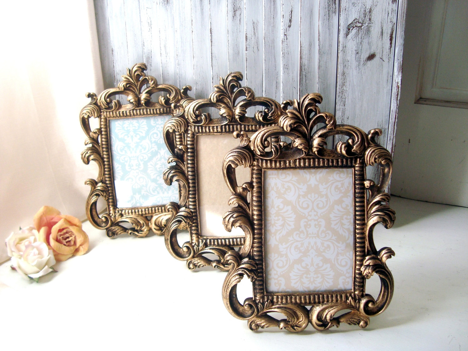 Vintage Gold Frames Etsy With Regard To Shabby Chic Round Mirror (Image 15 of 15)