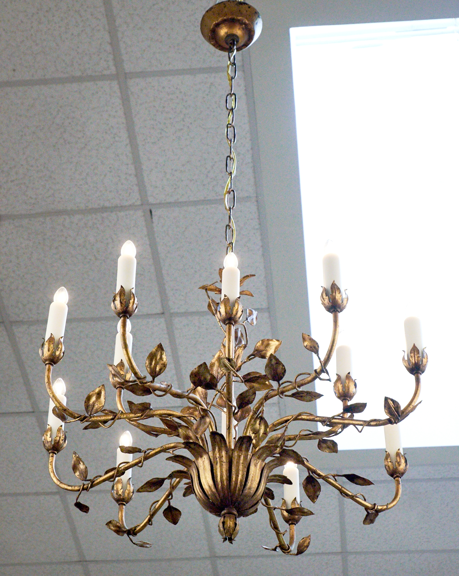 Vintage Gold Leaf Tole Chandelier Jean Marc Fray Intended For Branched Chandelier (Image 8 of 15)