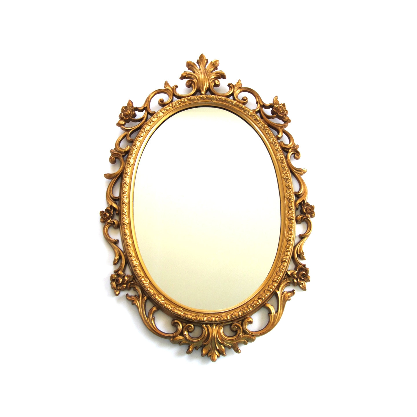 Vintage Gold Tone Resin Rococo Oval Mirror Within Rococo Gold Mirror (View 4 of 15)