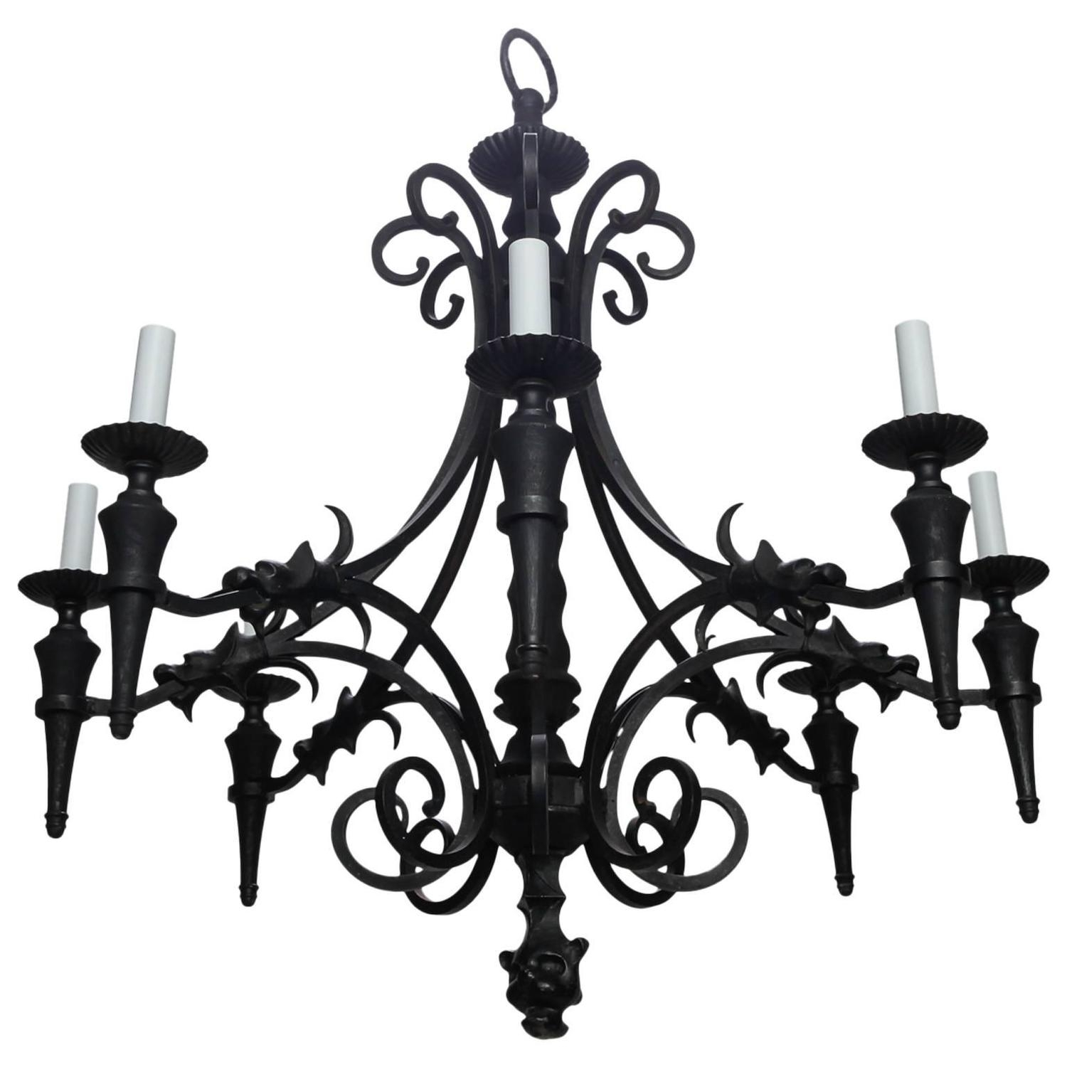 Vintage Gothic Style Spanish Iron And Wood Eight Arm Chandelier Inside Vintage Style Chandelier (Image 14 of 15)