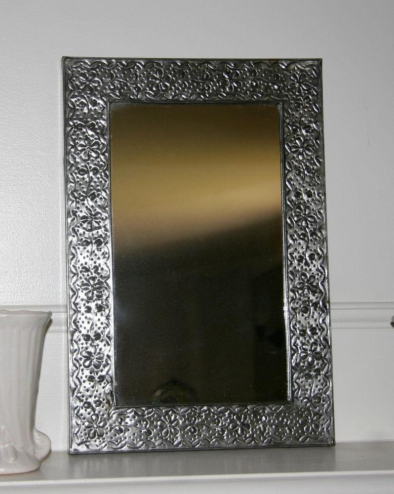 Vintage Hand Crafted Mexican Pressed Silver Tin Botanical Floral In Pressed Tin Mirror (Image 15 of 15)
