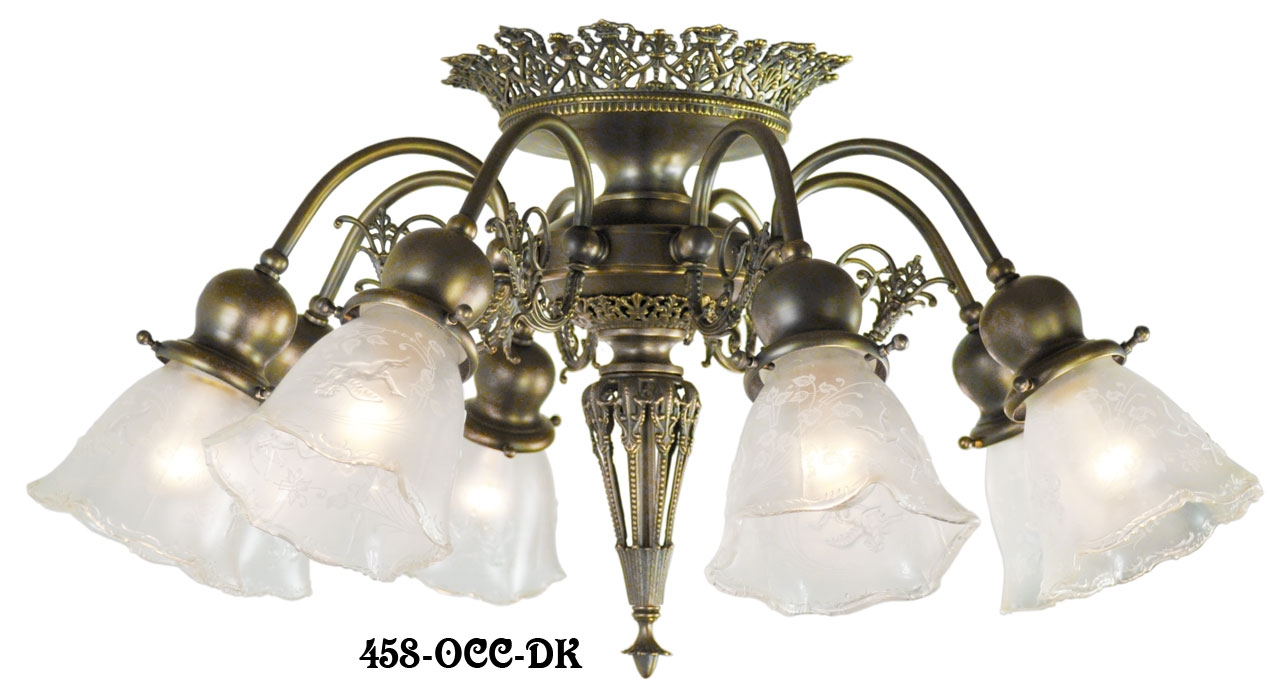 Vintage Hardware Lighting 8 Light Pierced Brass Short Ceiling For Short Chandelier (Image 14 of 15)