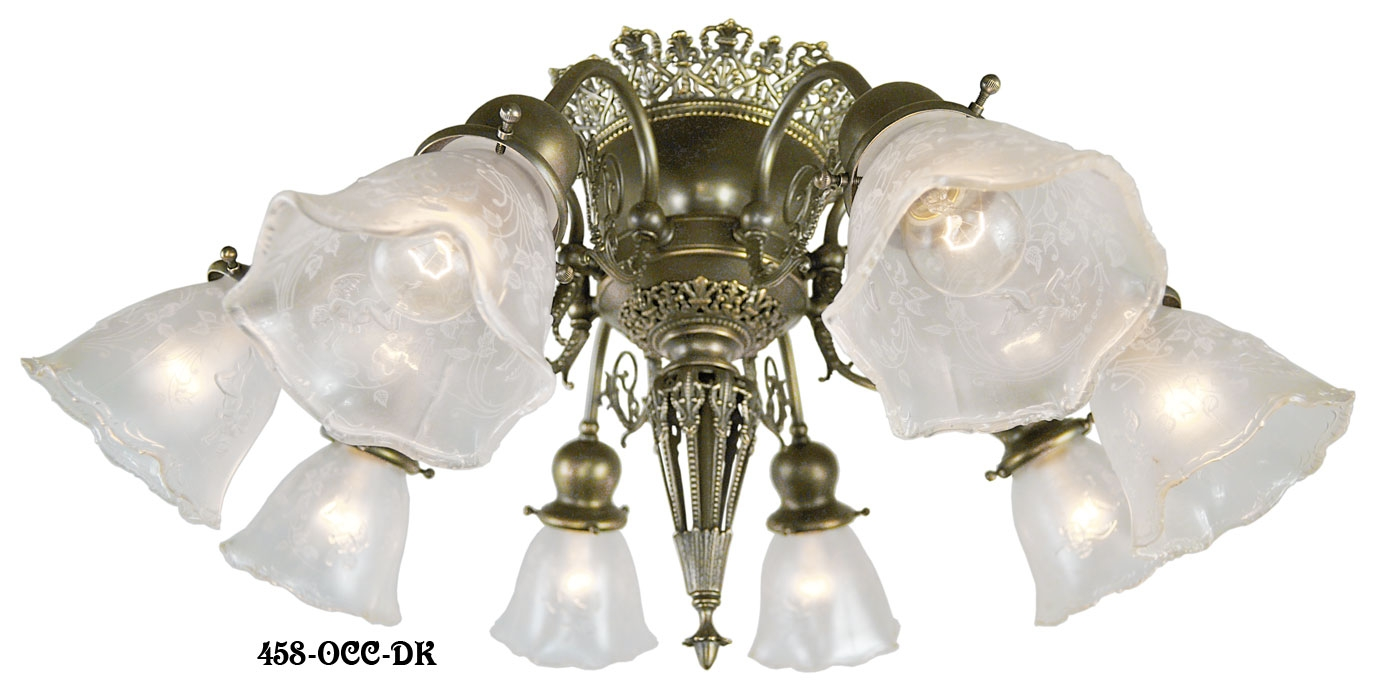 Vintage Hardware Lighting 8 Light Pierced Brass Short Ceiling Inside Short Chandelier (Image 15 of 15)