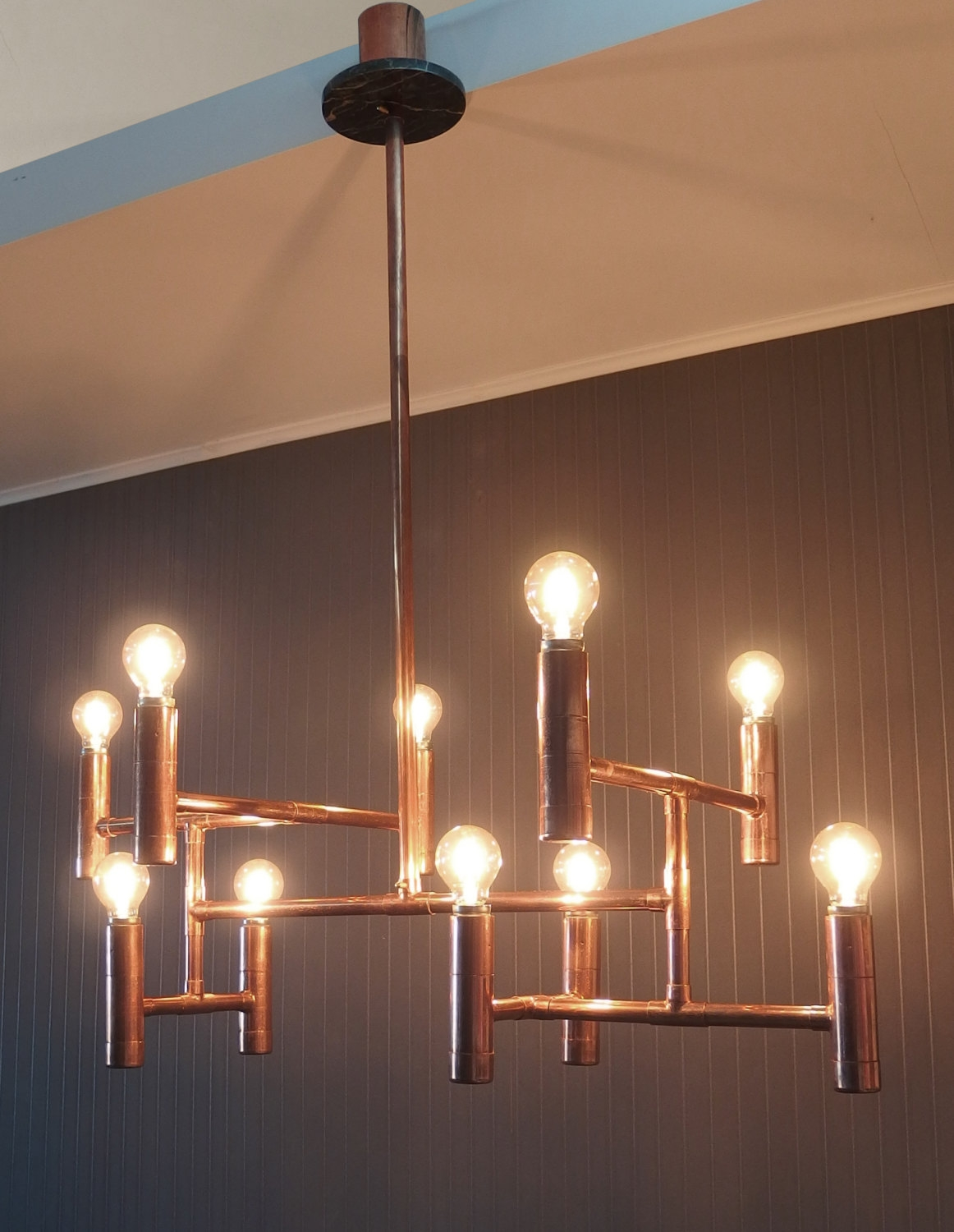 Vintage Industrial Copper Pipe Chandelier Elegant Dining Throughout Copper Chandelier (Image 15 of 15)