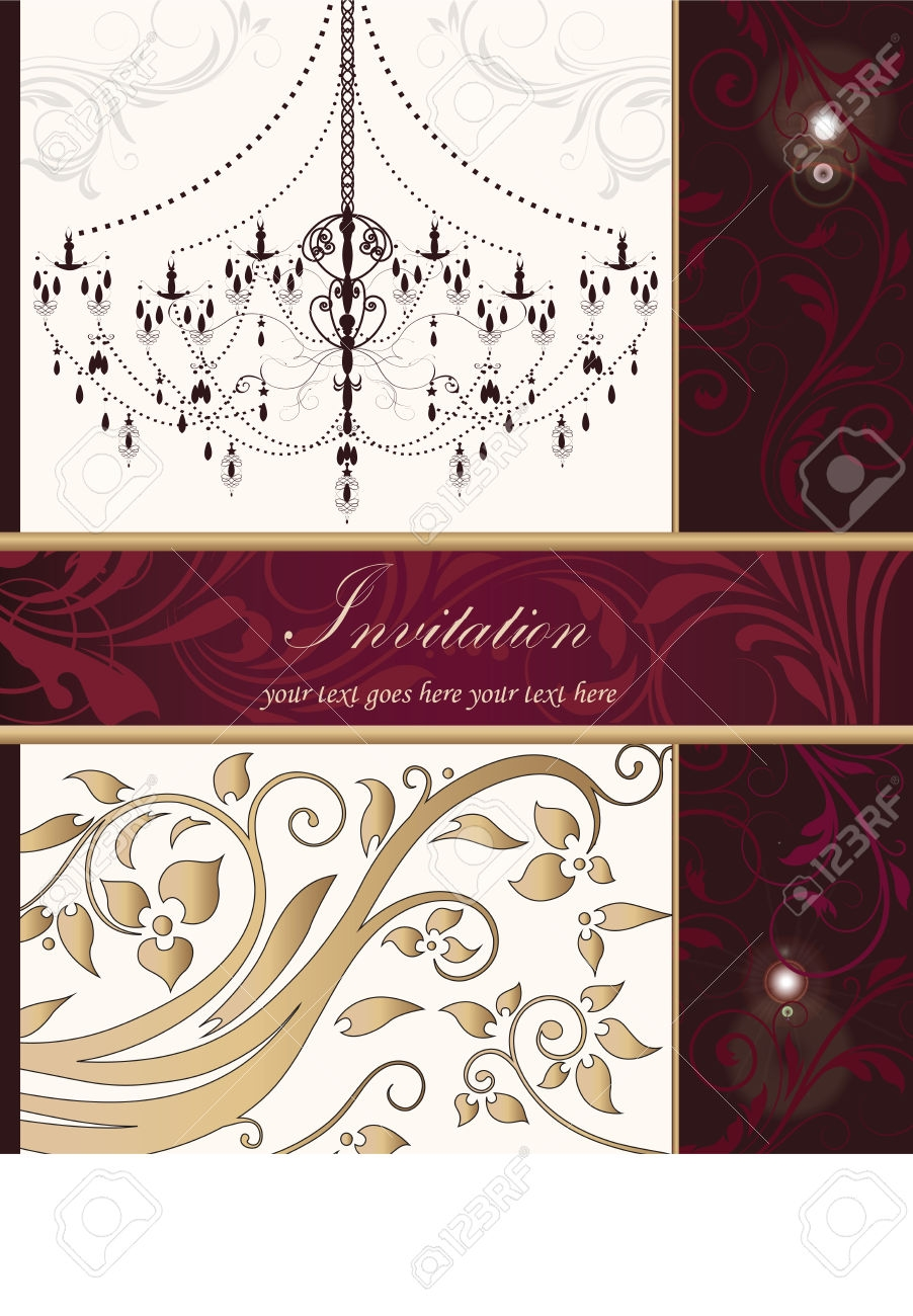 Vintage Invitation Card With Ornate Elegant Retro Abstract Floral With Fuschia Chandelier (Image 15 of 15)