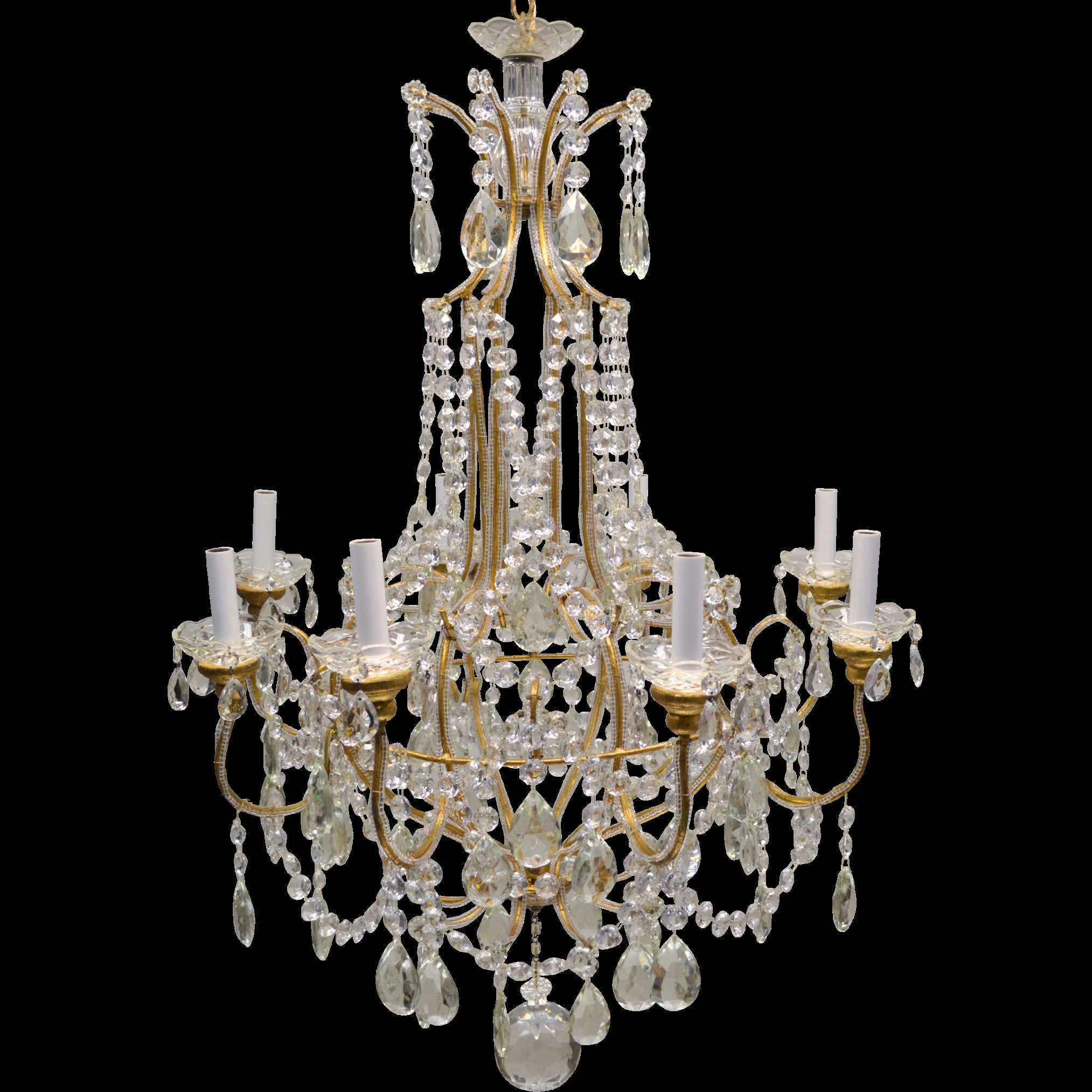 Vintage Italian Gilded Macaroni Beaded Crystal Prism Chandelier Intended For Vintage Chandelier (Image 14 of 15)