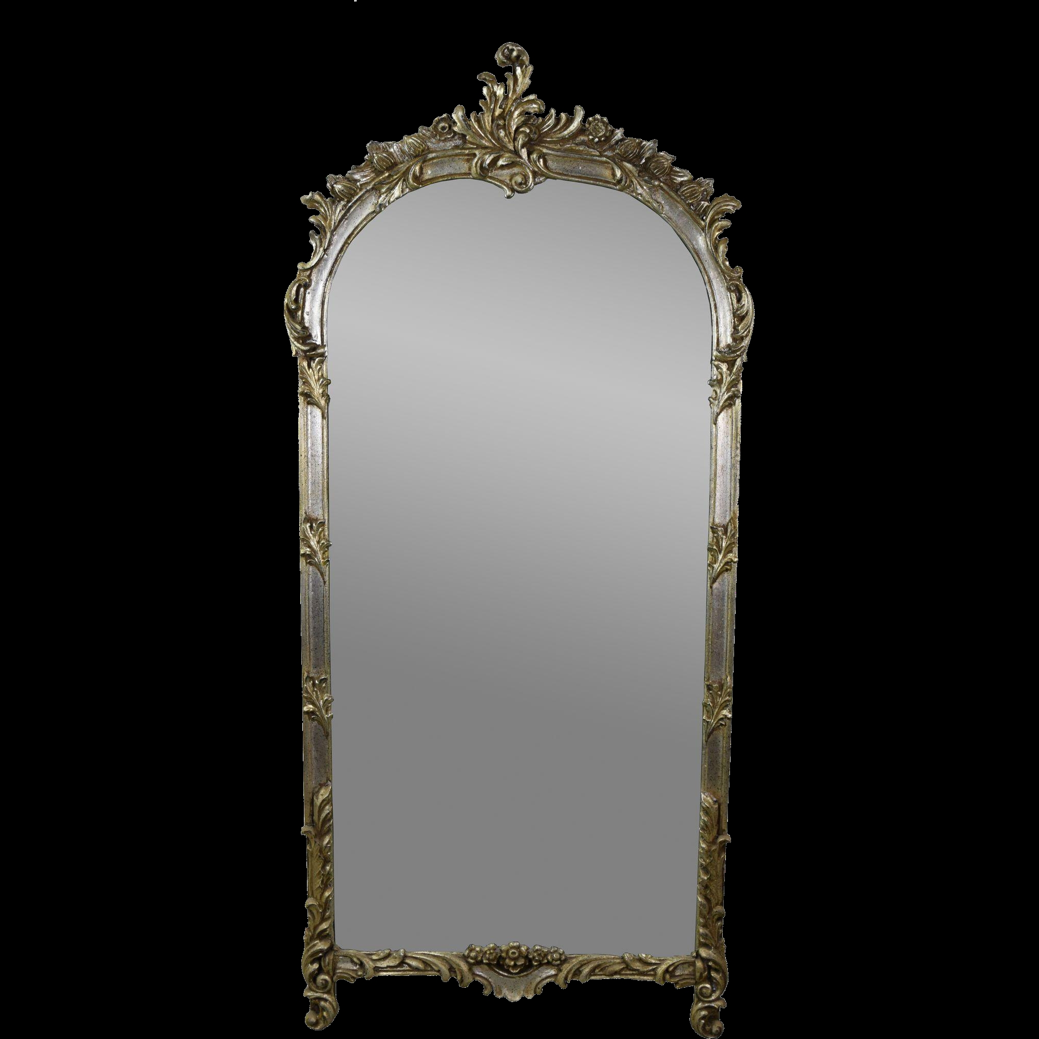 Vintage Labarge French Style Wall Pier Mirror W Silver Gilt Intended For Large Silver Gilt Mirror (Image 15 of 15)