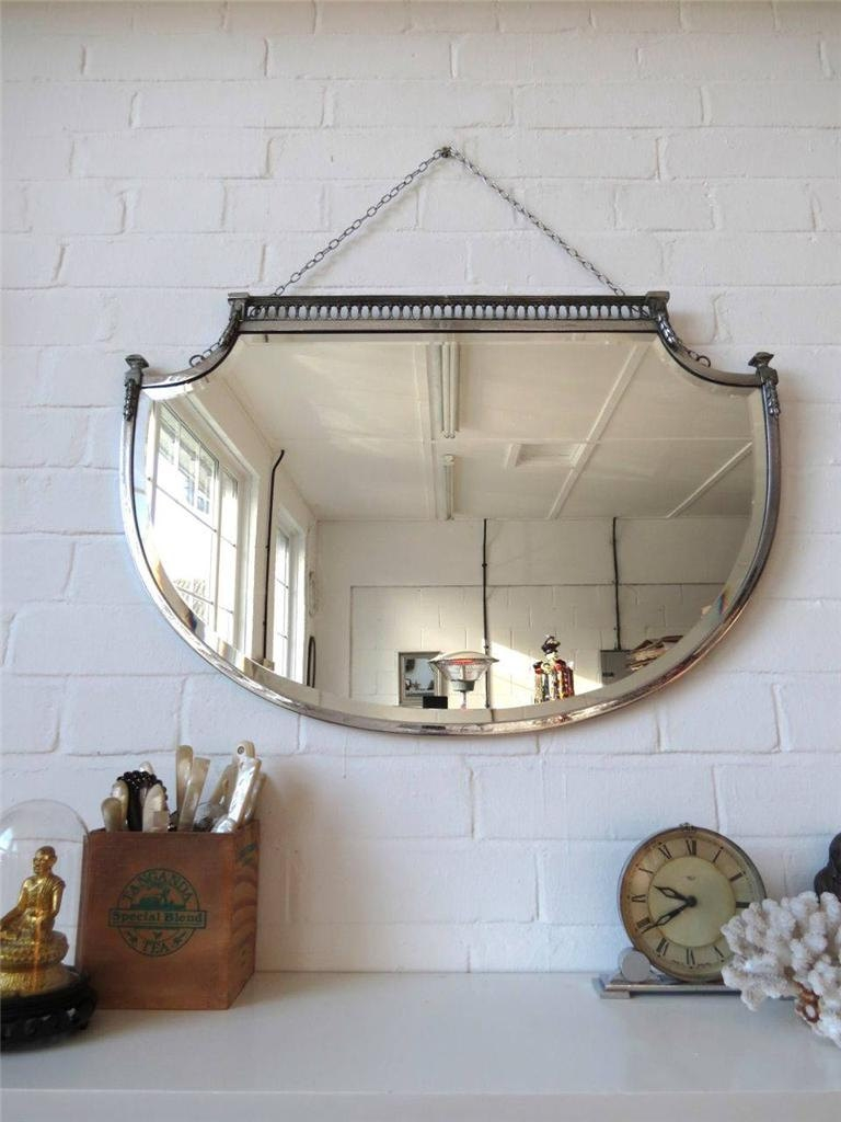 Vintage Large Art Deco Bevelled Edge Wall Mirror Lovely Shape With Regard To Vintage Bevelled Edge Mirror (Image 14 of 15)