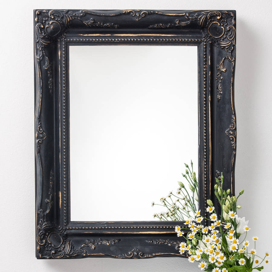 Vintage Matt Black Mirror Distressed Hand Crafted Mirrors Inside Black Vintage Mirror (Image 15 of 15)