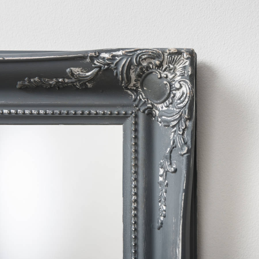 Vintage Matt Black Mirror Distressed Hand Crafted Mirrors Regarding Grey Vintage Mirror (Image 14 of 15)