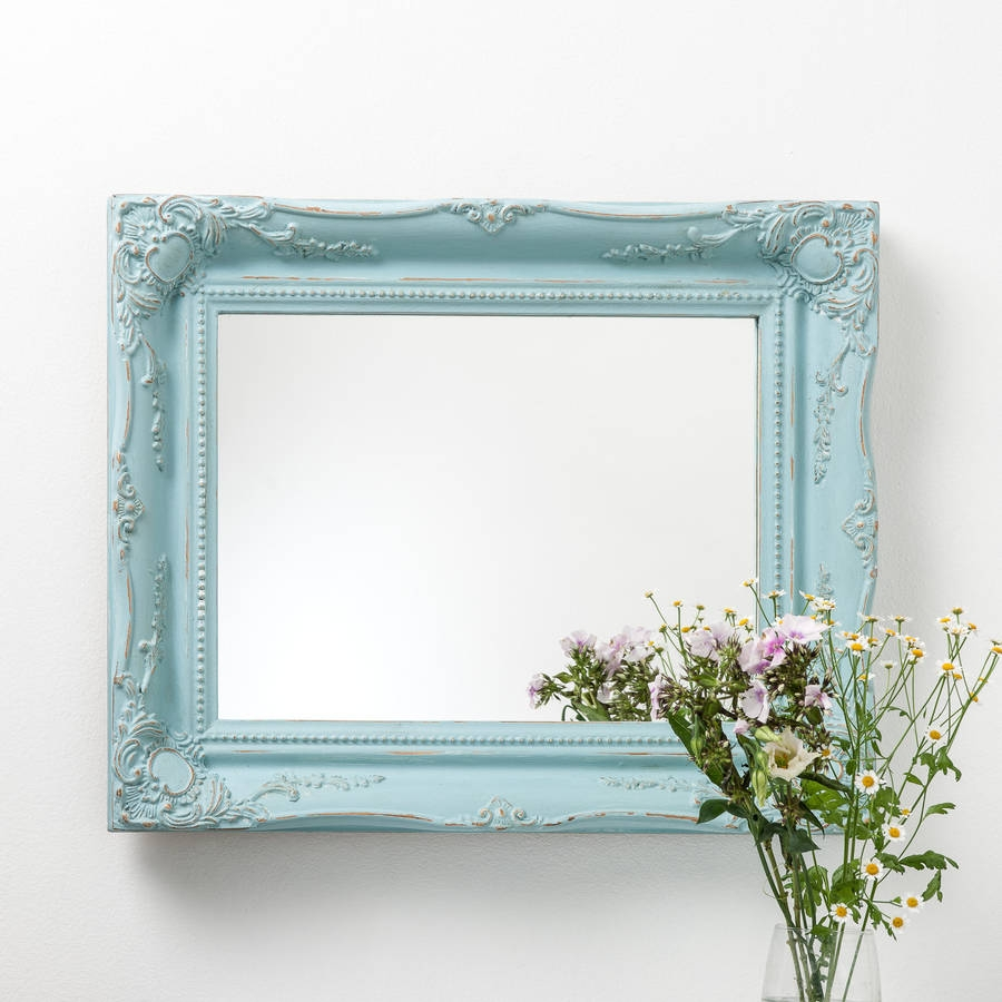 Vintage Matt Black Mirror Distressed Hand Crafted Mirrors With Blue Distressed Mirror (View 7 of 15)