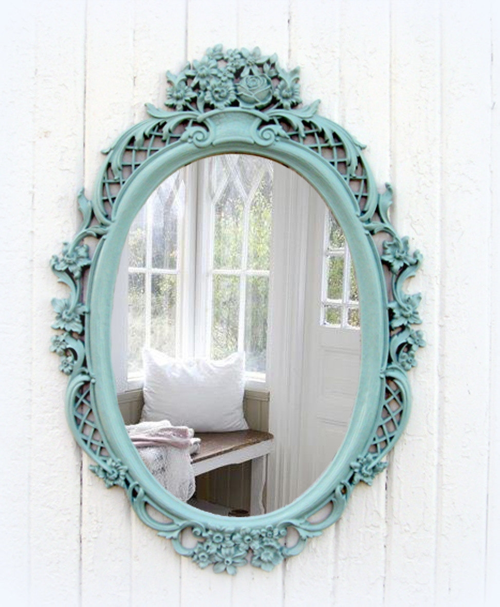 Vintage Mint Oval Mirror Shab Chic Beach Cottage In Oval Shabby Chic Mirror (Image 15 of 15)