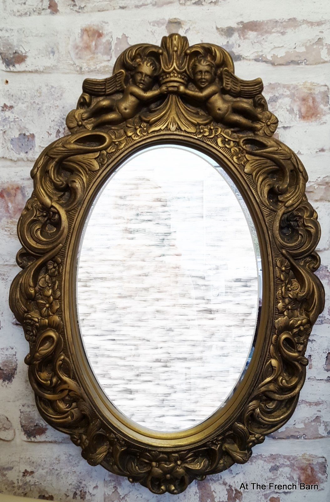 Vintage Mirror Carved Wood Plaster With Cherubs Antique Gold Pertaining To Ornate Vintage Mirror (Image 12 of 15)