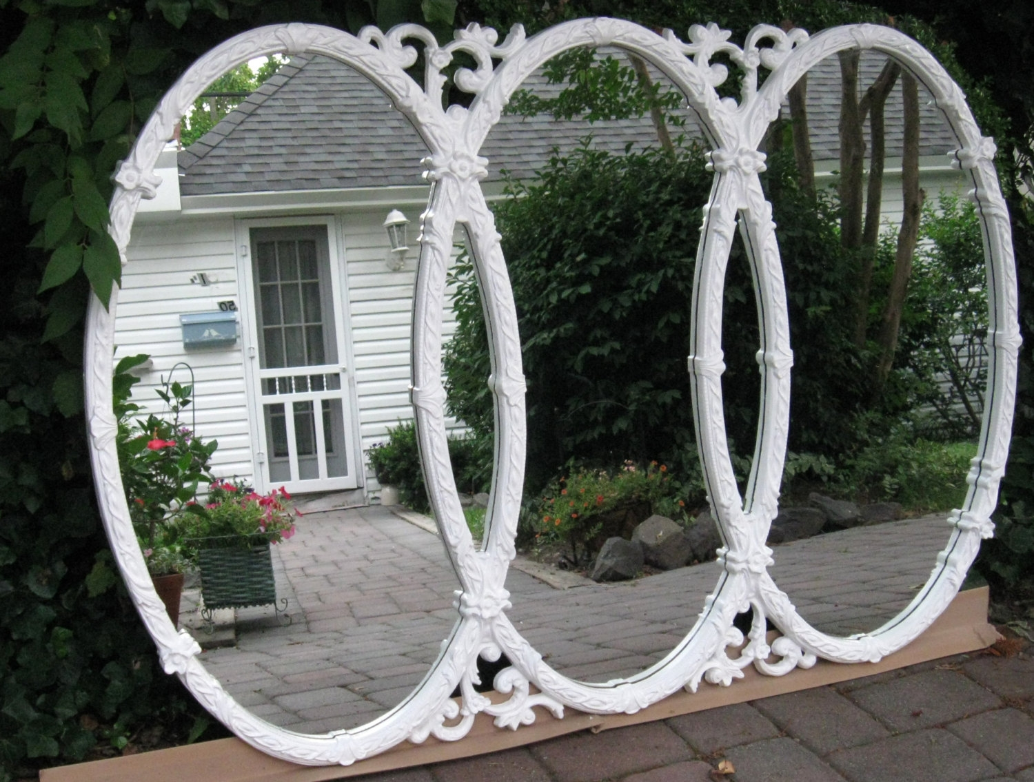 Vintage Mirror Triple Ornate Oval 60s Large Syroco Style With Regard To Antique Triple Mirror (Image 14 of 15)