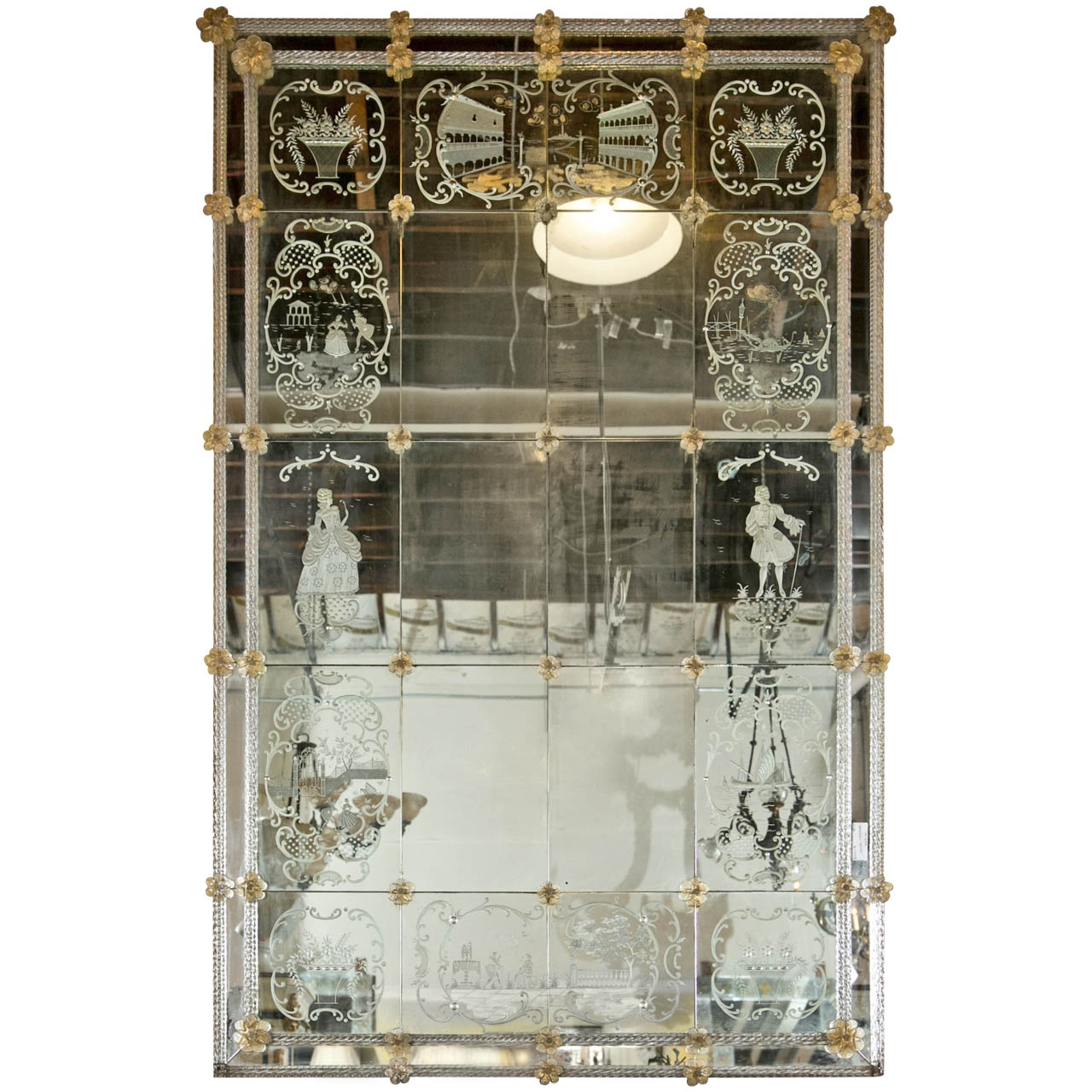 Vintage Monumental Eglomise Venetian Mirror Vintage Antiques Within Venetian Antique Mirror (Image 15 of 15)