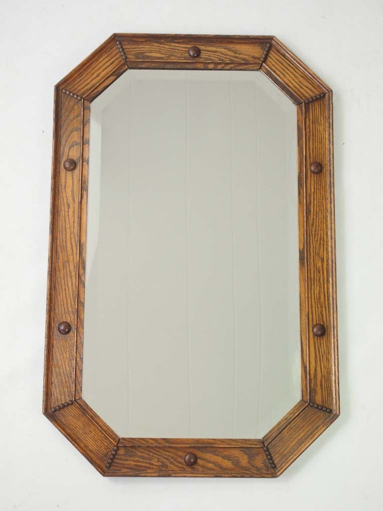 Vintage Oak Framed Mirror Overmantle Inside Wooden Overmantle Mirror (Image 15 of 15)