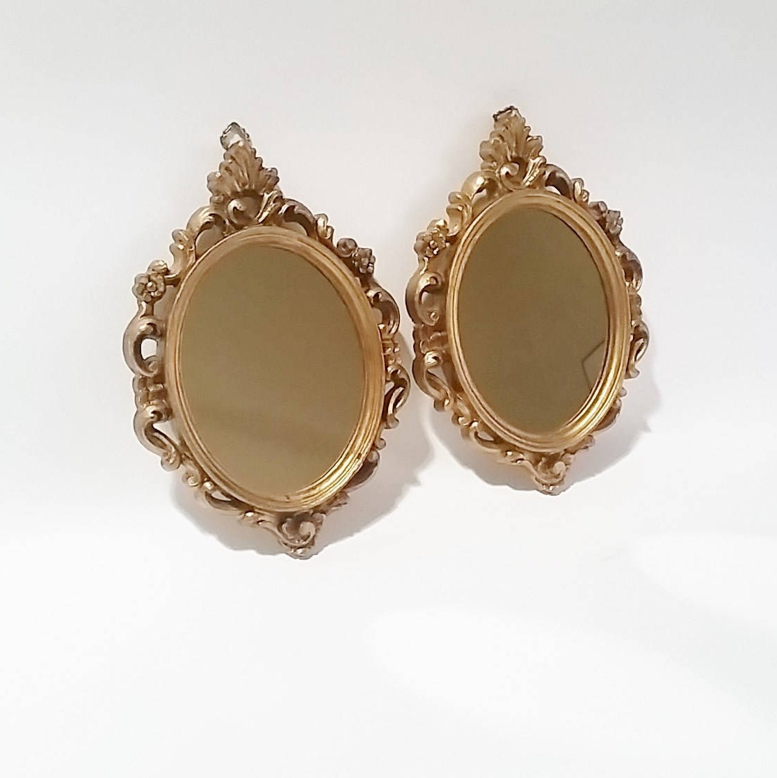 Vintage Ornate Gold Wall Mirror Hollywood Regency Mirror Small Within Small Ornate Mirror (Image 15 of 15)