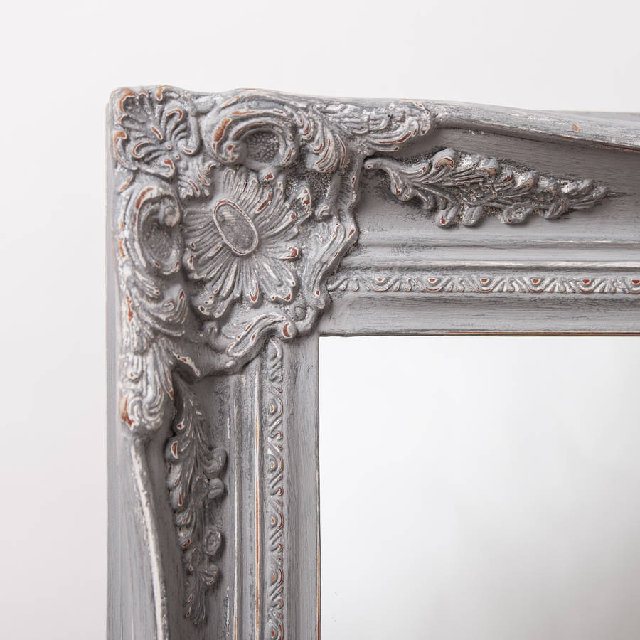 Vintage Ornate Grey Large Mirror Hand Crafted Mirrors Pertaining To Grey Vintage Mirror (Image 15 of 15)