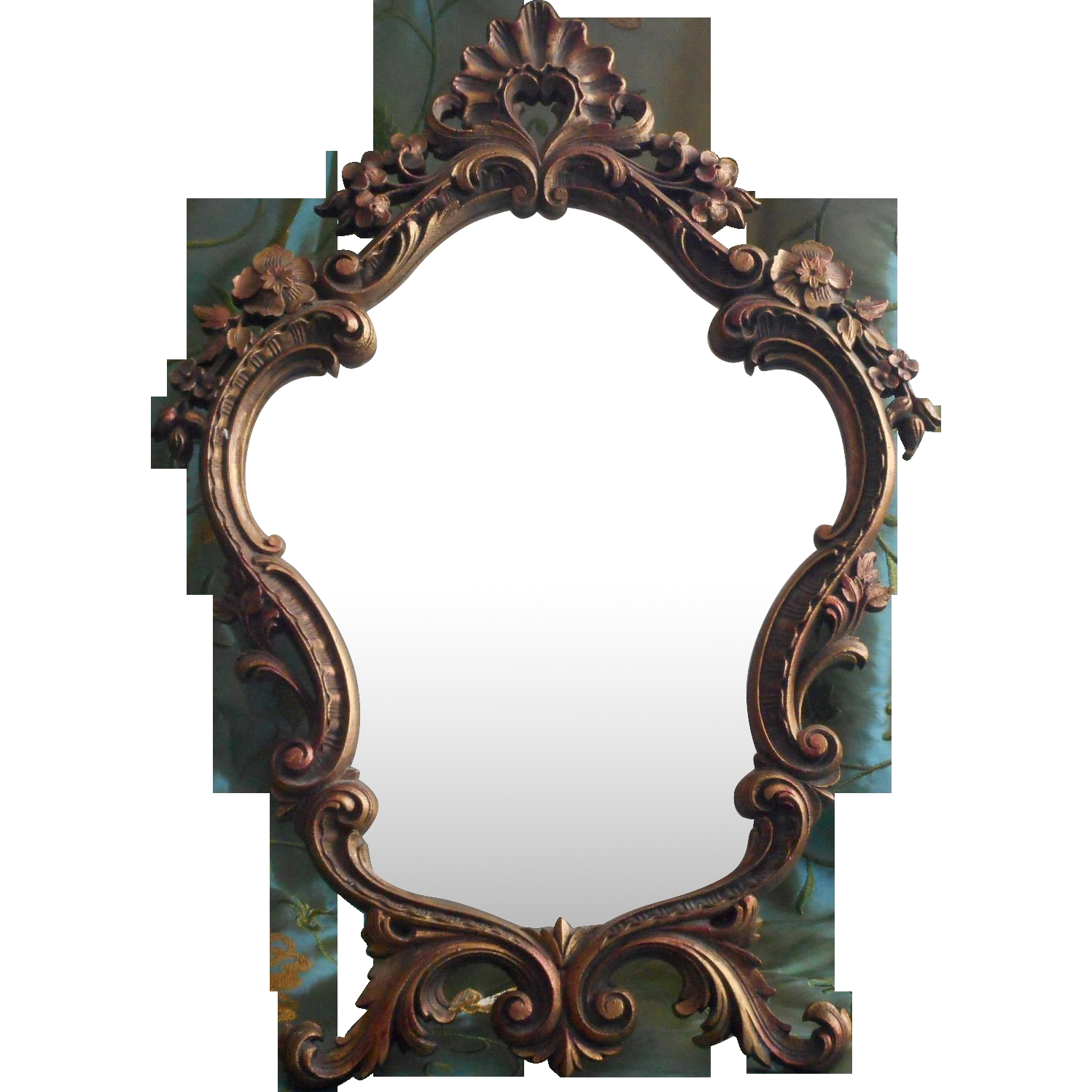 Vintage Ornate Mirror Easel Style Standing Rococo Pressed Wood Intended For Mirror Ornate (Image 11 of 15)