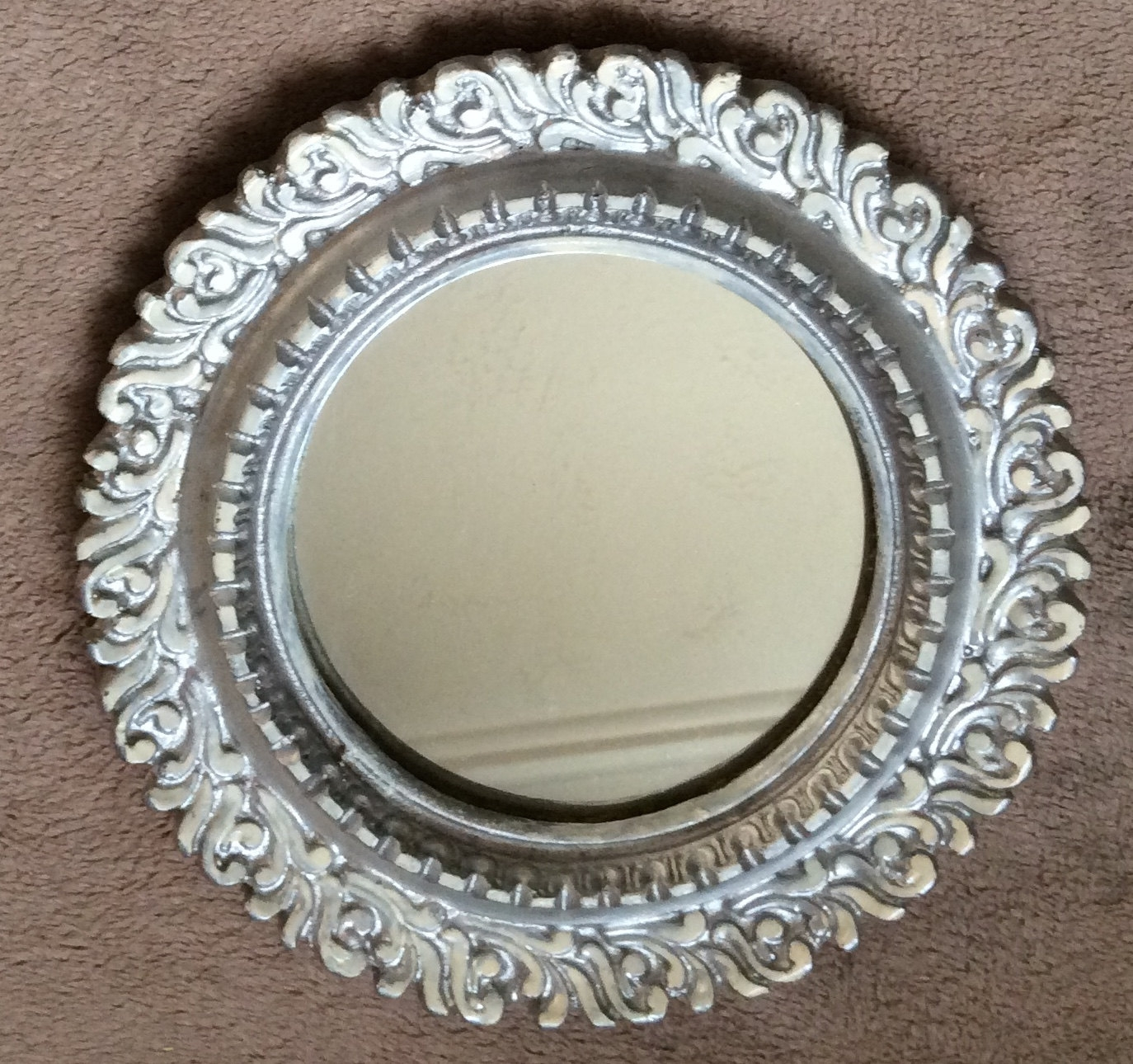 Vintage Ornate Round Mirror With Silver Painted Finish Home Decor Regarding Ornate Round Mirror (Image 13 of 15)