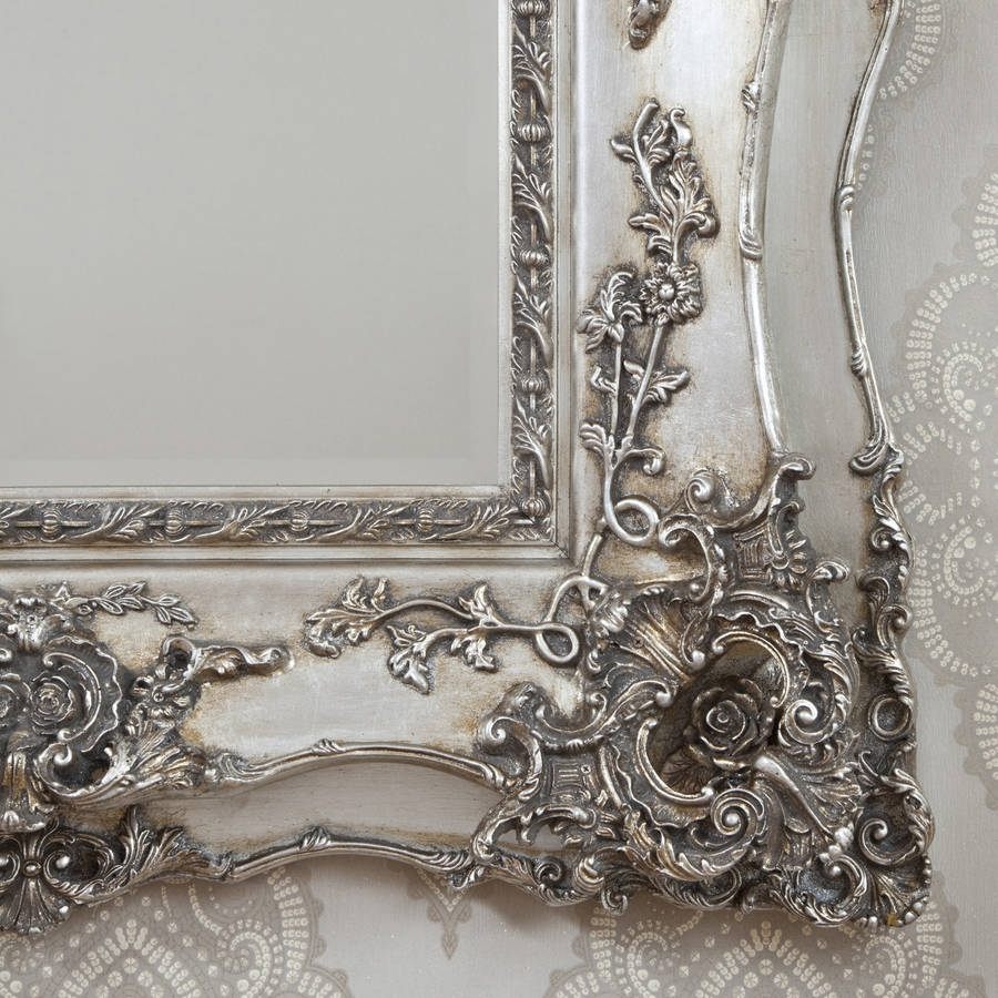 Vintage Ornate Silver Decorative Mirror Decorative Mirrors Intended For Silver Vintage Mirror (Image 12 of 15)
