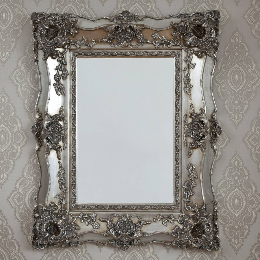 Vintage Ornate Silver Decorative Mirror Decorative Mirrors Throughout Silver Ornate Mirror (Image 13 of 15)