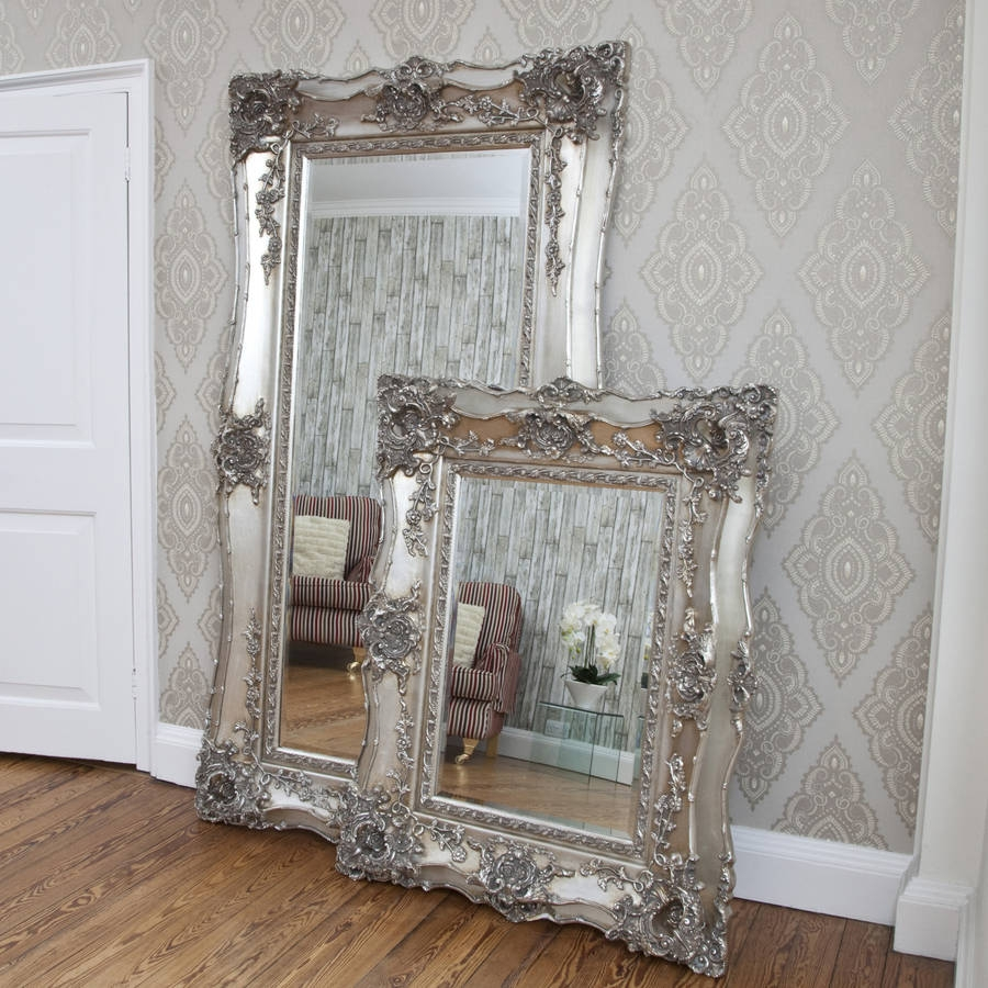 Vintage Ornate Silver Decorative Mirror Decorative Mirrors Within Ornate Mirrors Large (Image 14 of 15)