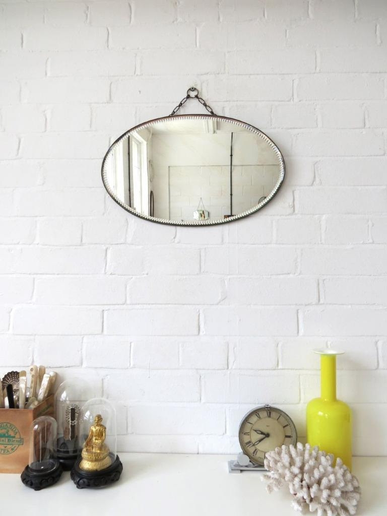 Vintage Oval Art Deco Bevelled Edge Wall Mirror Or Frameless With Vintage Frameless Mirror (Image 15 of 15)