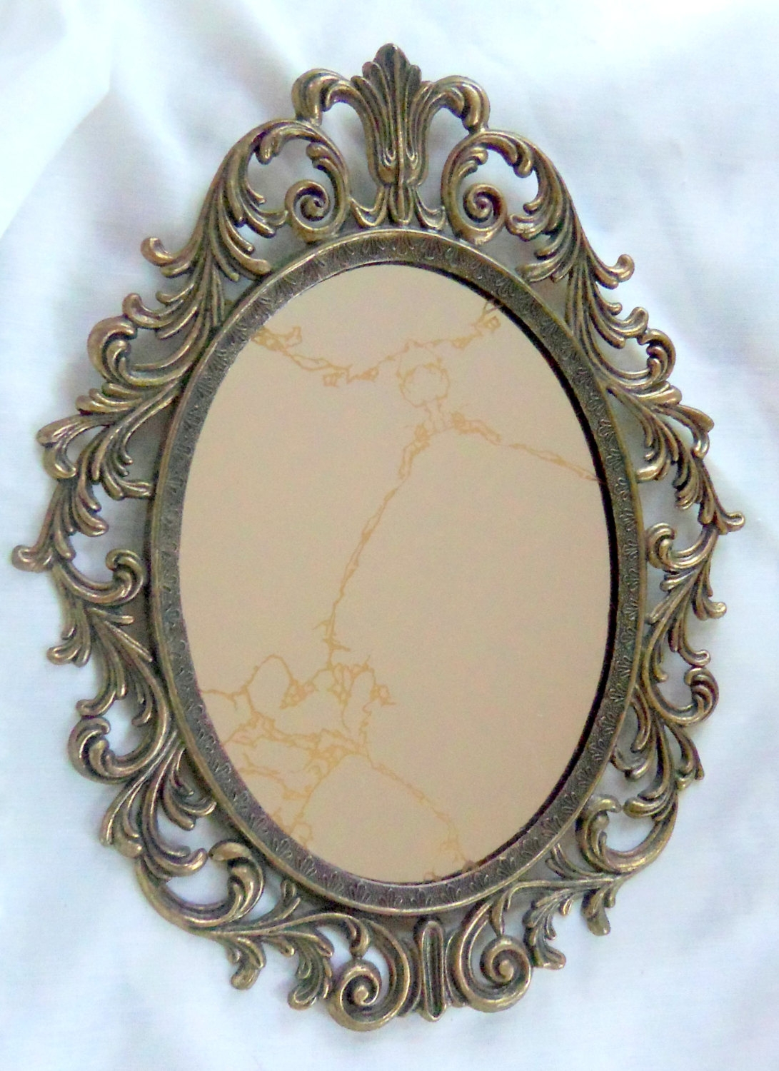Vintage Oval Mirror Antique Brass Frame Ornate Treasury Item With Vintage Mirrors (Image 13 of 15)