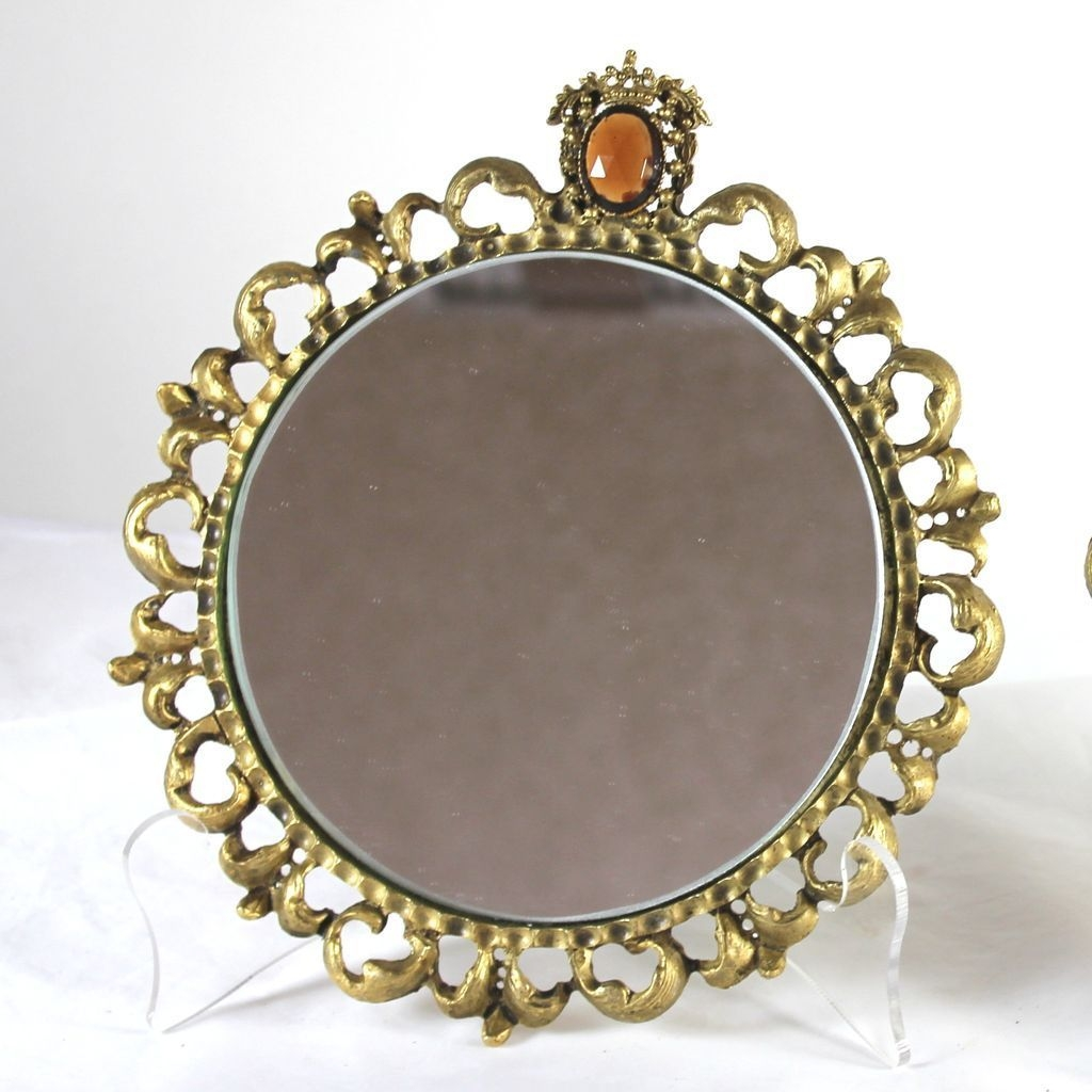 Vintage Pair Of Round Gilt Framed Mirrors With Jewels Hollywood Intended For Gilt Framed Mirror (Image 15 of 15)