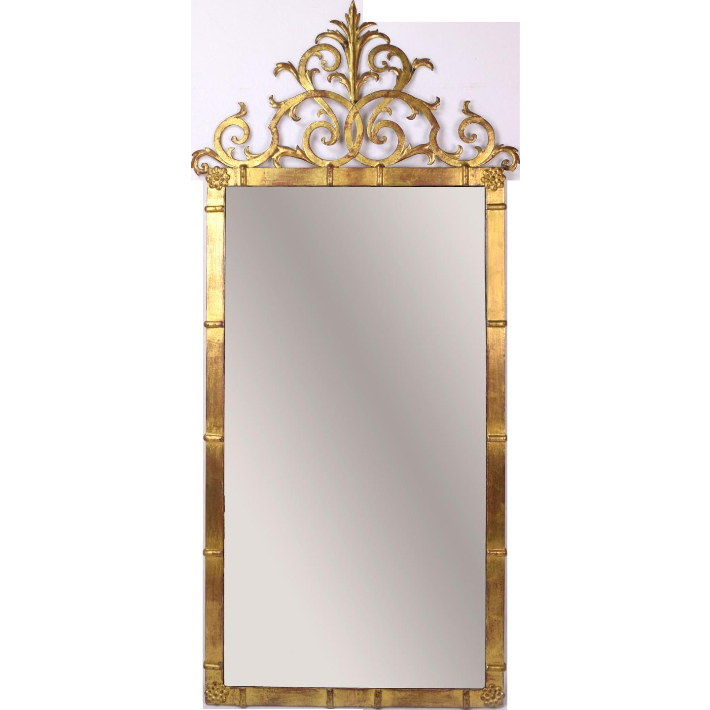 Vintage Palladio Italian Rococo Gilt Metal Pier Wall Mirror From Pertaining To Rococo Wall Mirror (Image 14 of 15)