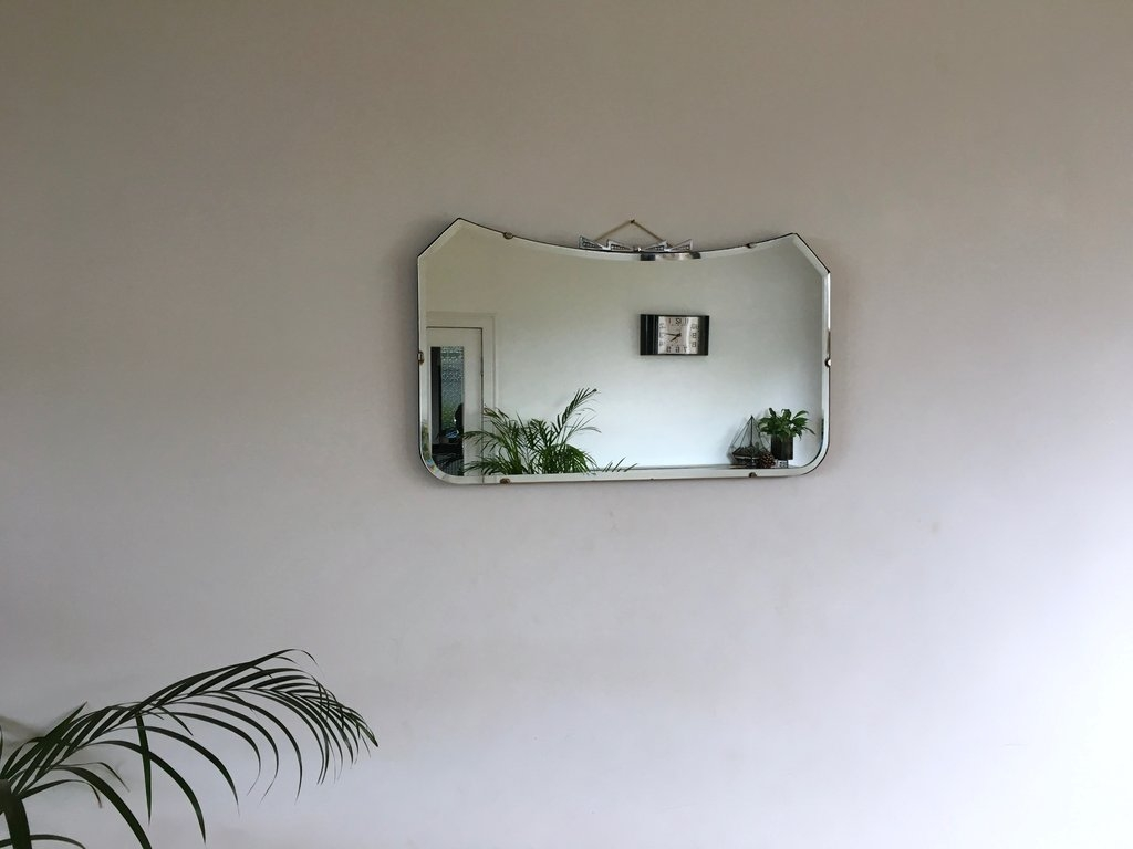 Vintage Rectangular Bow Bevelled Edge Mirror Vinterior With Regard To Vintage Bevelled Edge Mirror (Image 15 of 15)