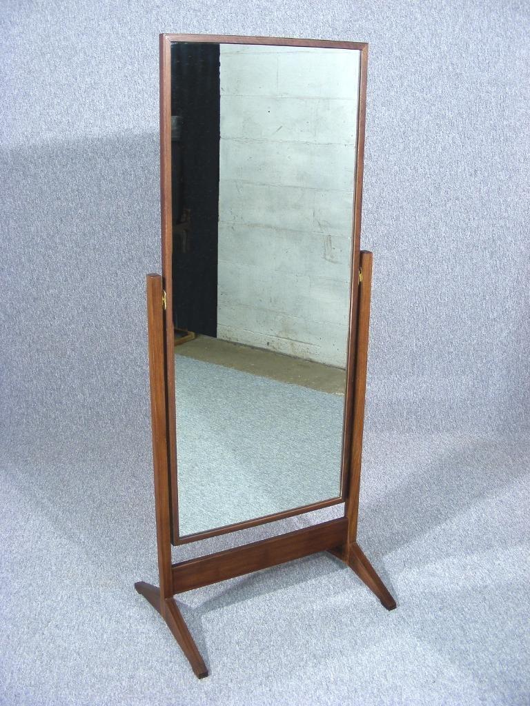 Vintage Retro Teak Full Length Floor Standing Cheval Mirror 1960s Within Vintage Standing Mirror (Image 14 of 15)