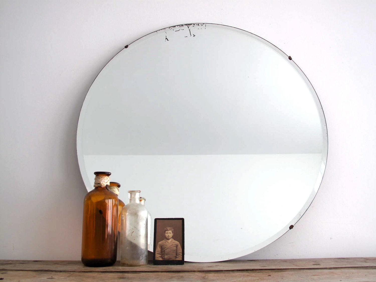 Vintage Round Wall Mirror Frameless Beveled Bathroom Mirror Pertaining To Round Antique Mirrors (Image 14 of 15)