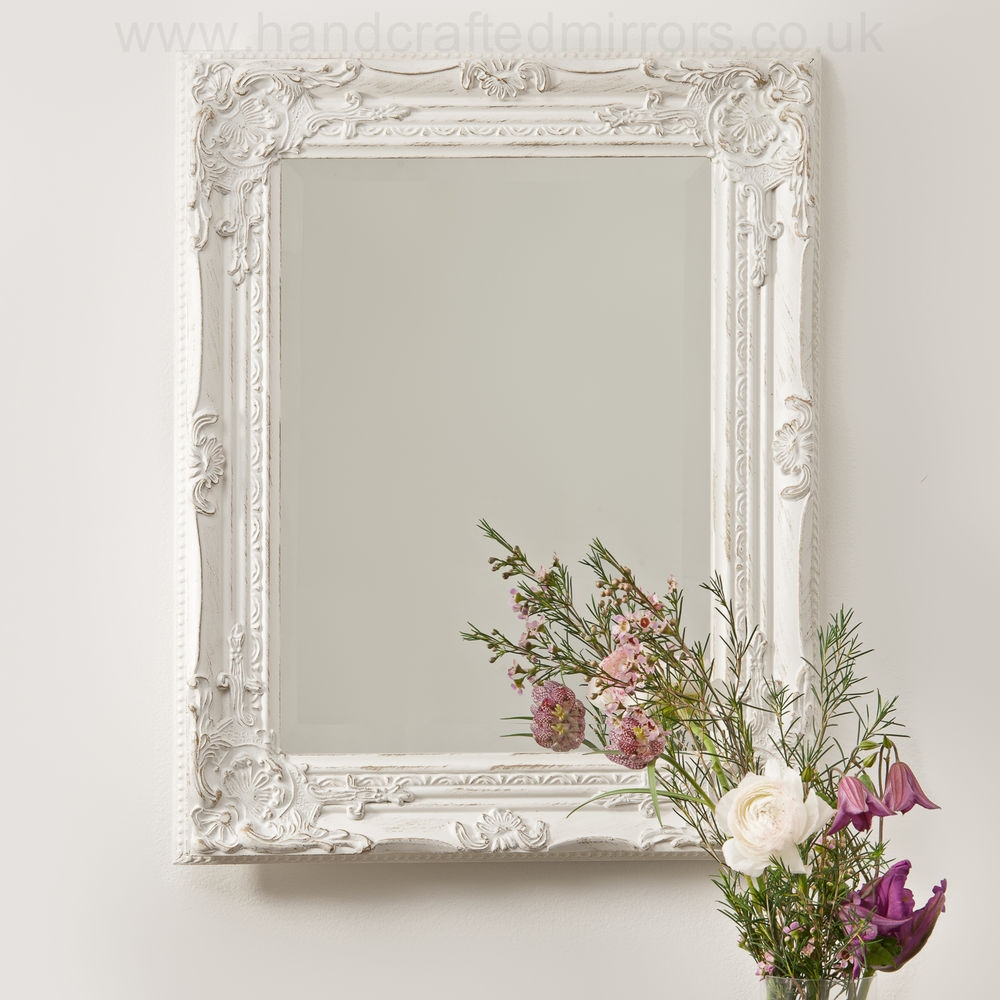 Vintage Shab Chic White Cream French Ornate Wall Mirror Rococo Throughout Distressed Cream Mirror (Image 15 of 15)