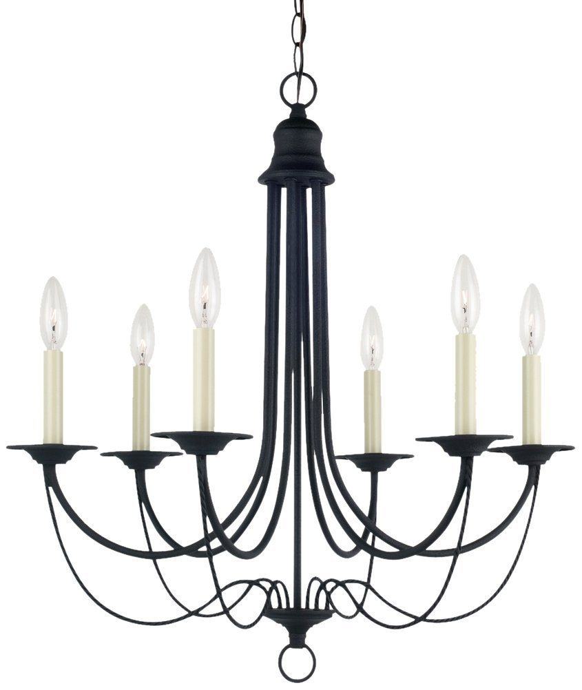 Vintage Style Black Chandelier 25110 Blacksmith Finish Six Lights Intended For Vintage Style Chandelier (Image 15 of 15)