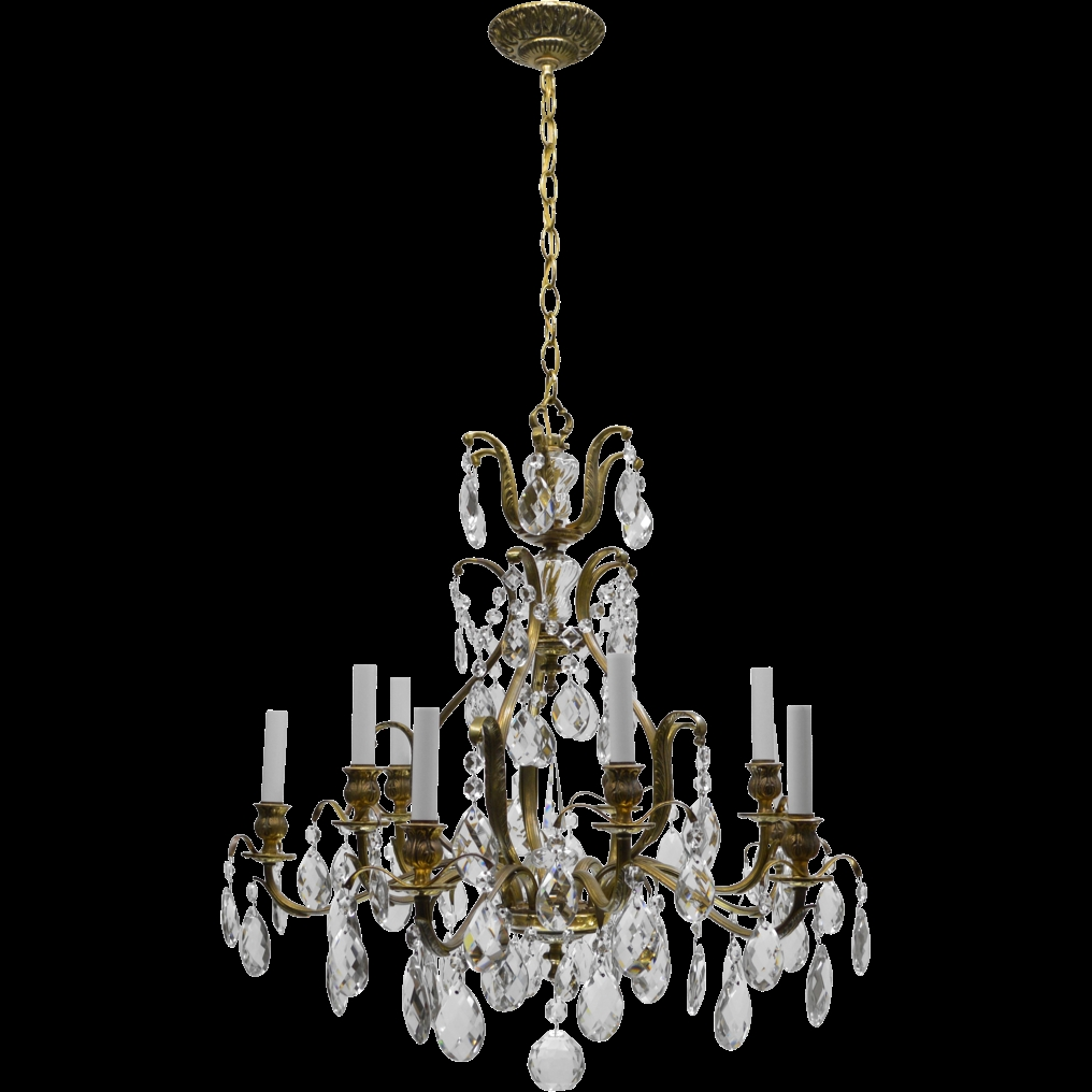 Vintage Swedish Chandelier Brass Crystal 10 Lights From Tolw With Regard To Brass And Crystal Chandeliers (Image 15 of 15)