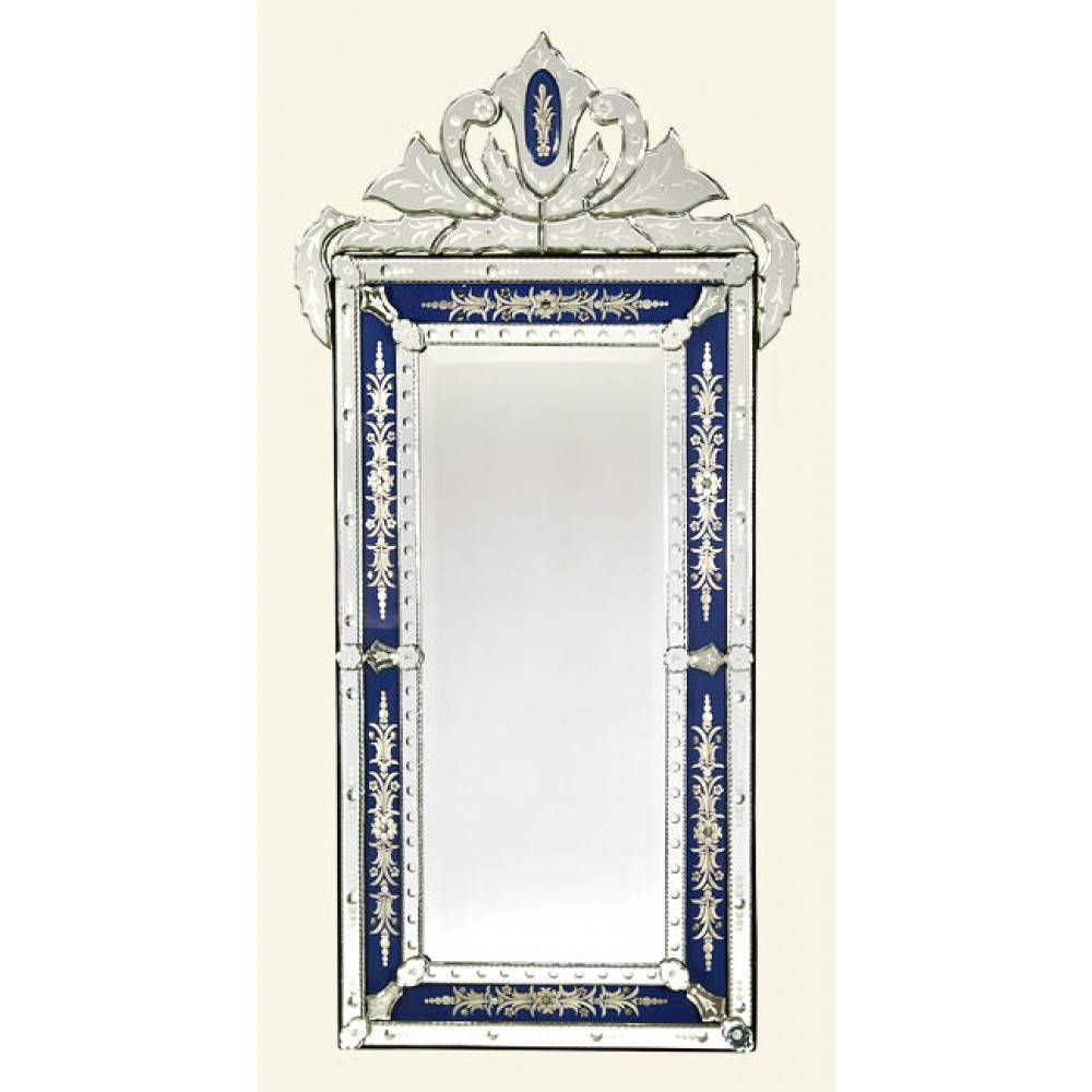 Vintage Venetian Antique Style Blue Clear Etched Decorative Wall With Regard To Venetian Mirrors Wholesale (Image 14 of 15)