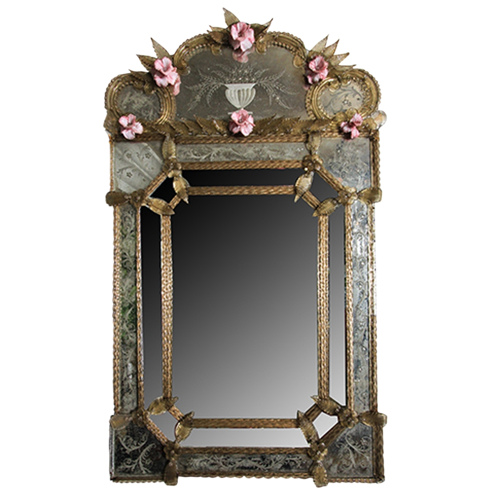Vintage Venetian Etched Glass Mirror Omero Home Intended For Venetian Etched Glass Mirror (Image 14 of 15)