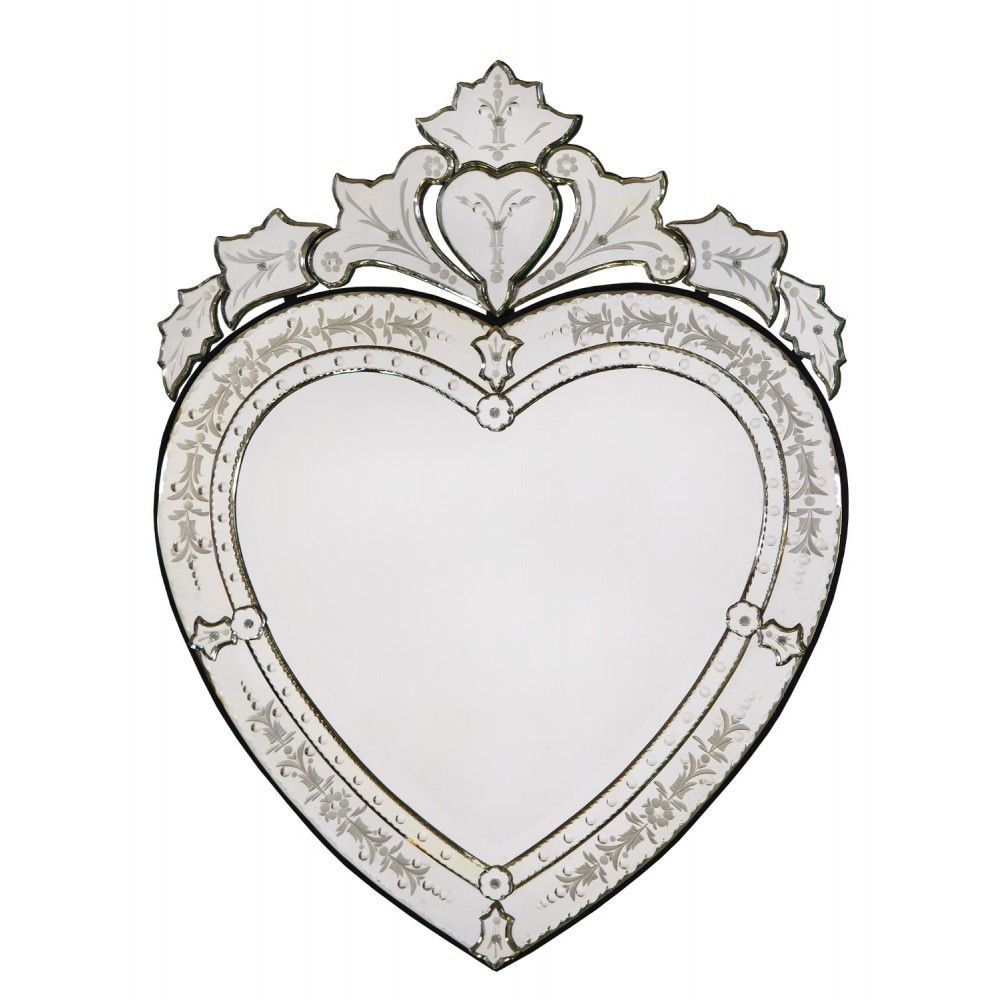 Vintage Venetian Heart Shaped Antique Style Etched Decorative Wall Inside Venetian Heart Mirror (Image 15 of 15)
