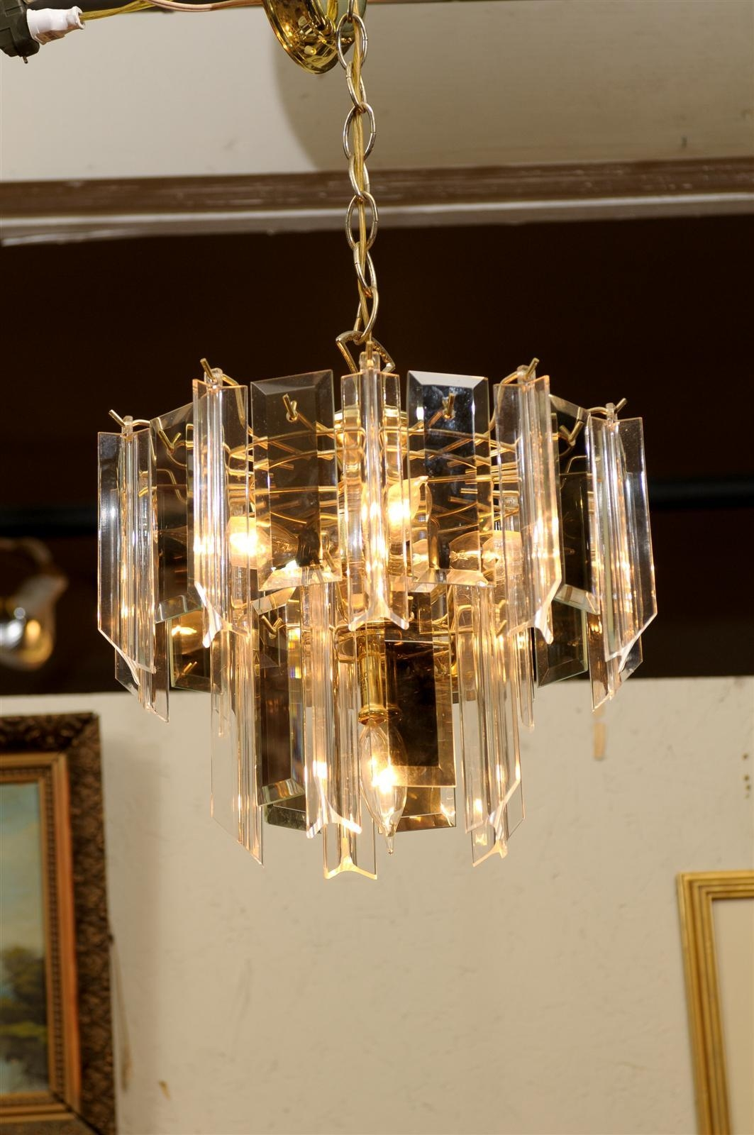 Vintage Waterfall Chandelier Of Brass Smoked Glass And Lucite At In Brass And Glass Chandelier (Image 14 of 15)