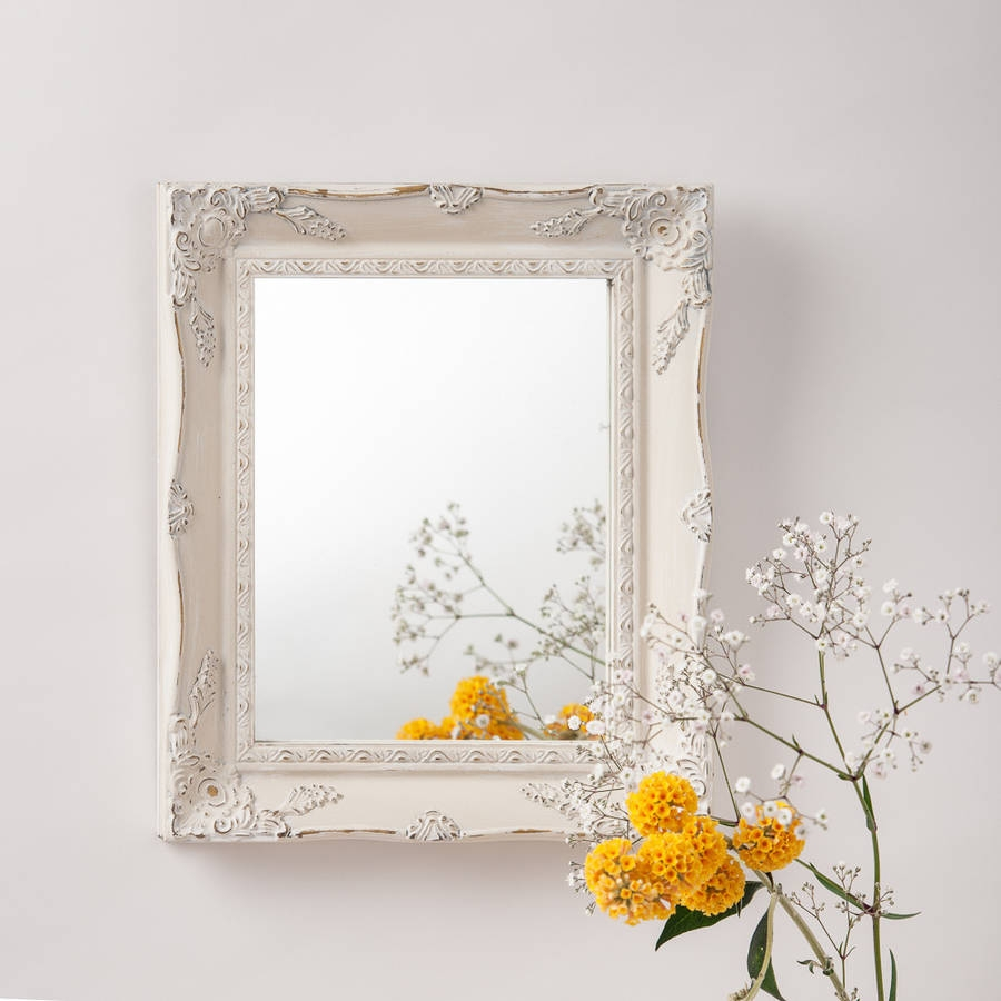 Vintage White Cream Hand Painted Mirror Hand Crafted Mirrors Pertaining To Cream Mirror (Image 14 of 15)