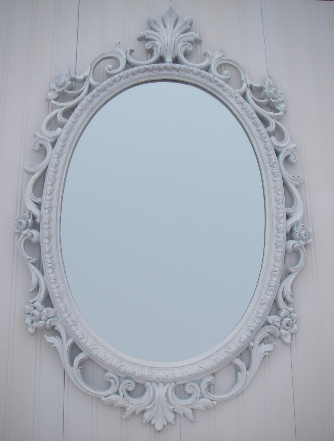 Vintage White Mirror Frame Homco Oval Shab French Country For Vintage White Mirror (Image 13 of 15)