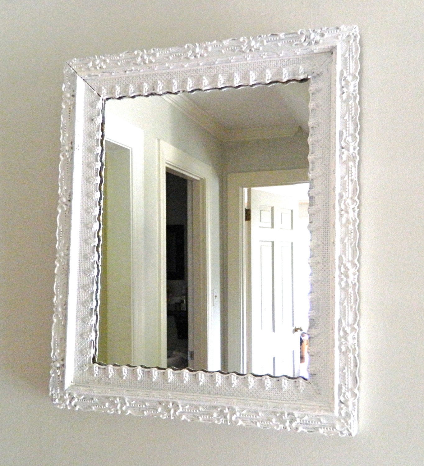 Vintage White Mirror Shab Chic Ornate Wood Frame Intended For White Antique Mirror (Image 13 of 15)