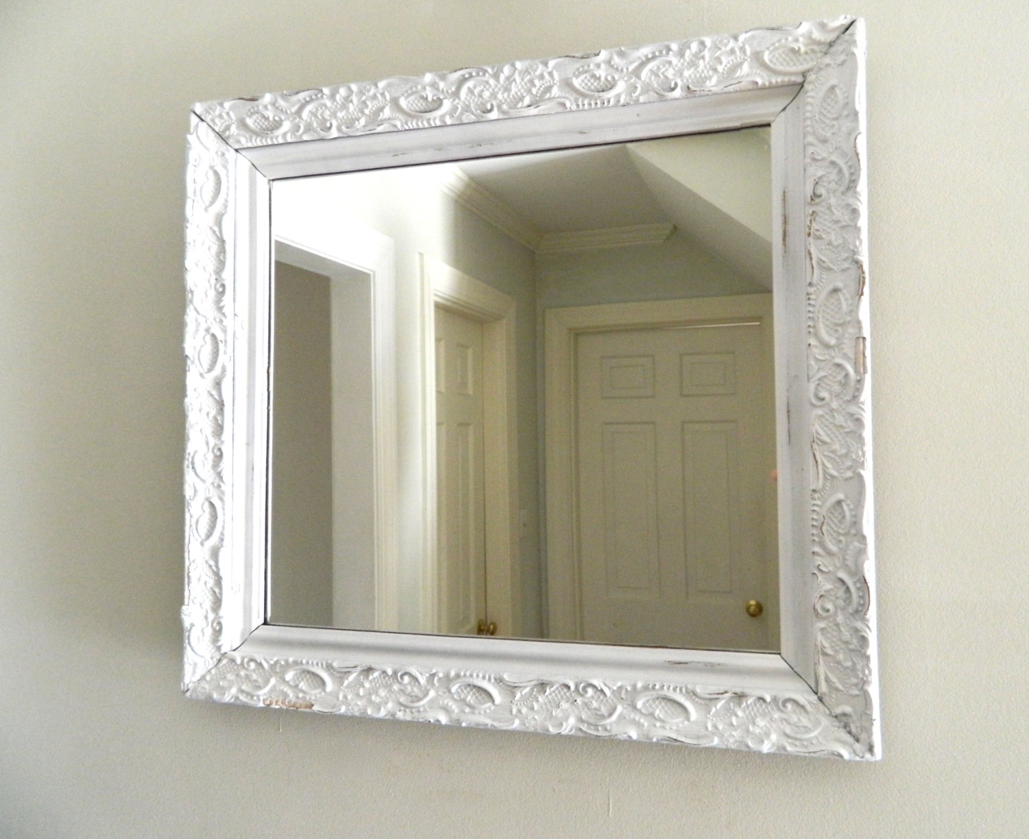 Vintage White Mirror Shab Chic Wood Frame Inside Vintage White Mirror (Image 15 of 15)