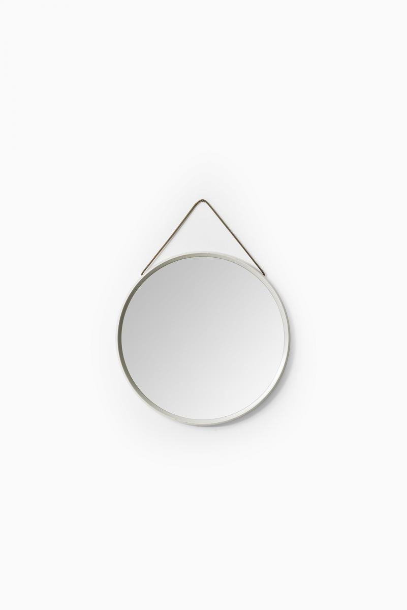 Vintage White Round Mirror With Leather Strap For Sale At Pamono Intended For Round Leather Mirror (Image 14 of 15)