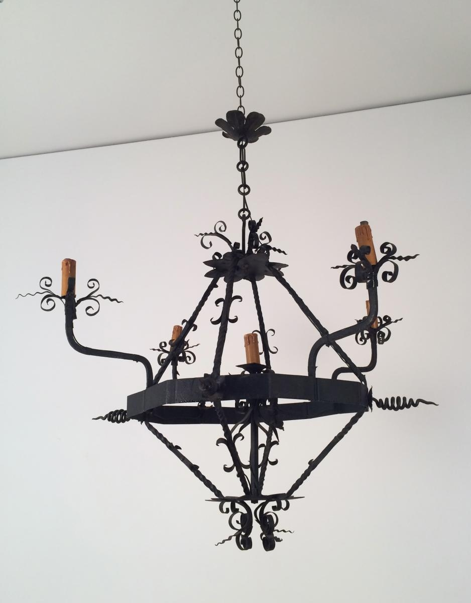 Vintage Wrought Iron Chandelier 1960s For Sale At Pamono Pertaining To Vintage Wrought Iron Chandelier (Image 13 of 15)
