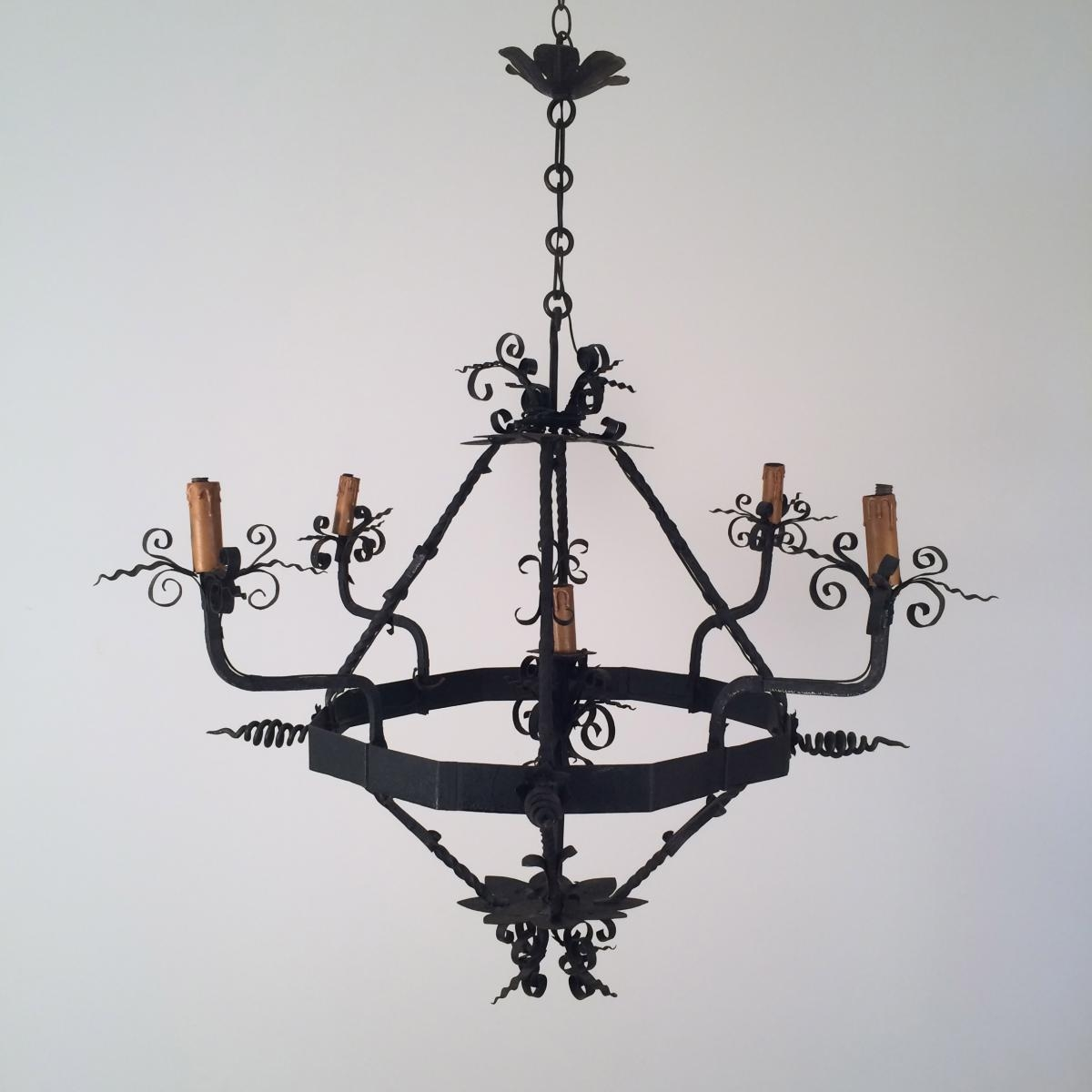 Vintage Wrought Iron Chandelier 1960s For Sale At Pamono Pertaining To Vintage Wrought Iron Chandelier (Image 12 of 15)