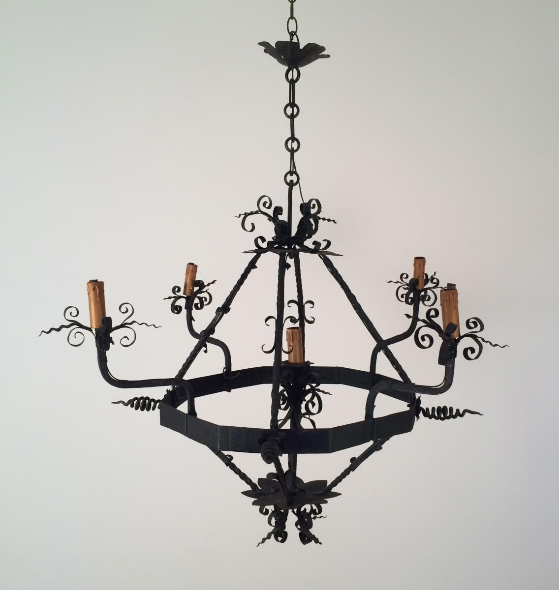 Vintage Wrought Iron Chandelier 1960s For Sale At Pamono Regarding Vintage Wrought Iron Chandelier (Image 14 of 15)