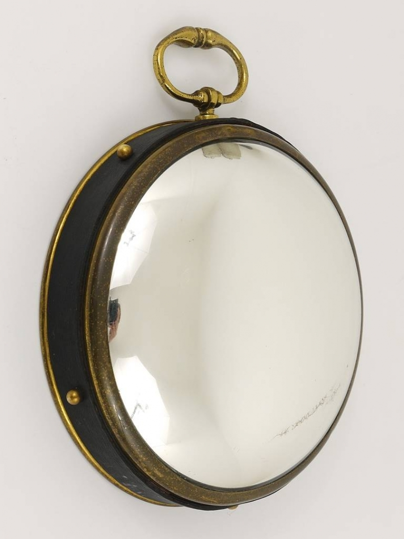 Vintagerie Petite French Convex Brass And Leather Mirror Bullseye Intended For Round Porthole Mirror (Image 15 of 15)